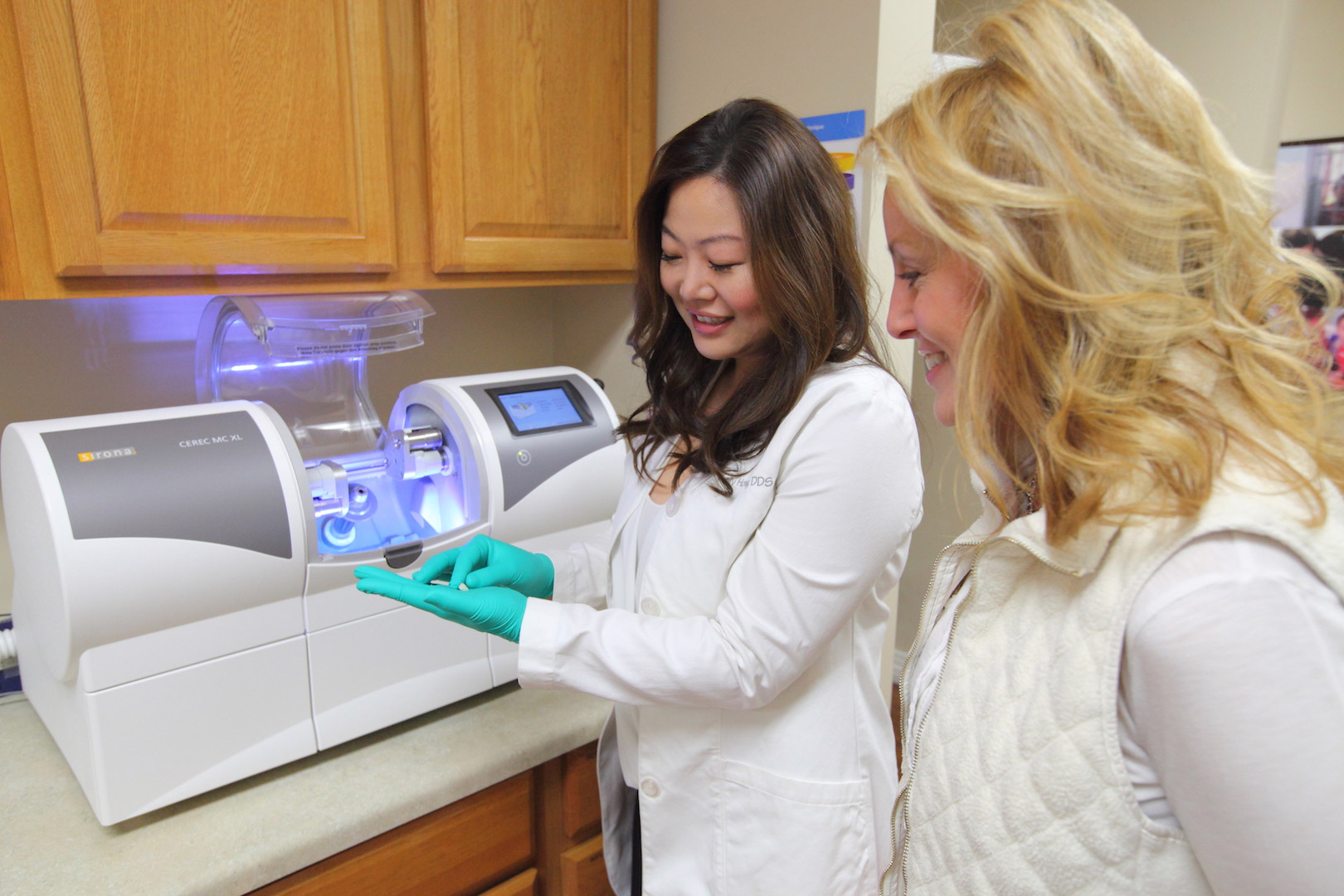 Dr. Kelly Hong with CEREC Same Day Crowns at Kelly Smile Dentistry in Victorville, CA.